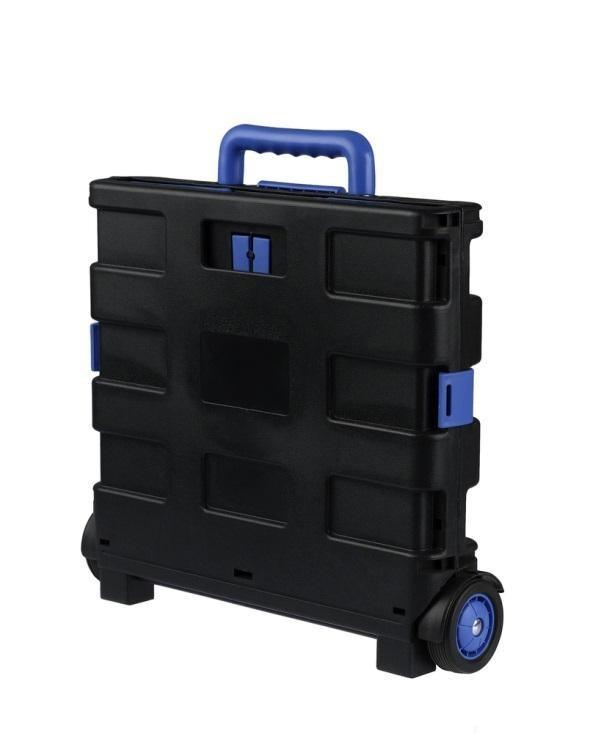 A folded up foldable cart that is perfect for storing in small compact places.