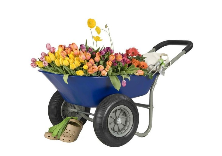 A garden cart with a polyethylene bed material used in hauling various flowers.