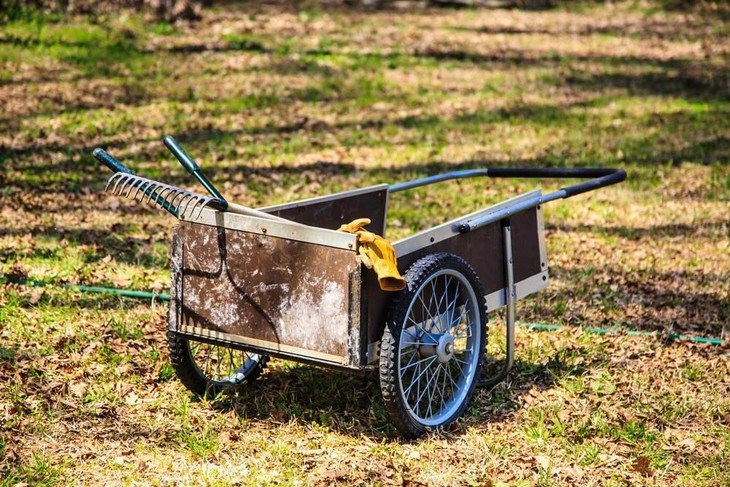 A garden cart with pneumatic tires which Is great for any terrain.
