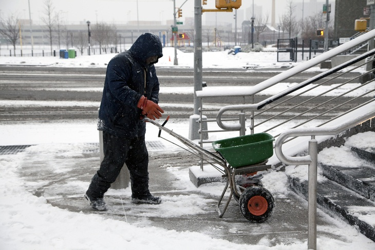 You can use a spreader to get rid of ice in a harsh winter.