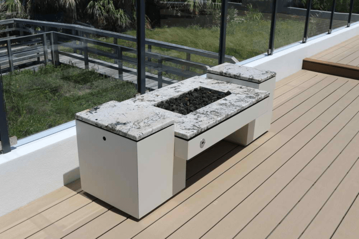 Choose a modern fire pit that complements the overall look of your house.