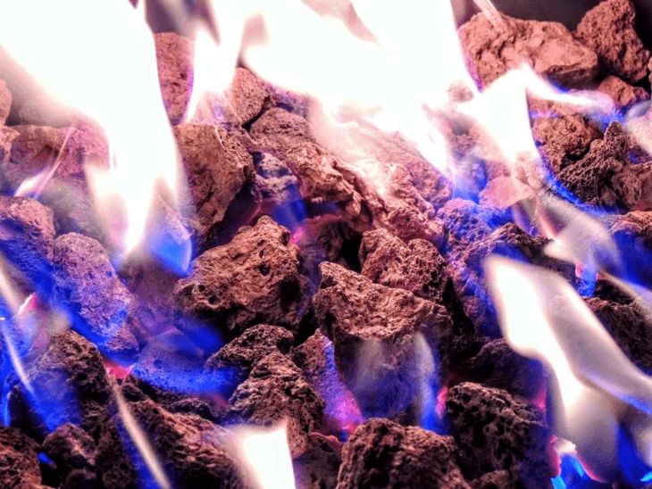 Heat output from a propane fire pit.