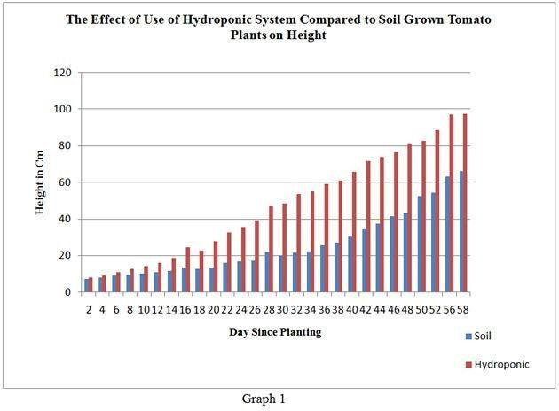 Graph showing a huge difference in the effect of hydroponics versus soil to the height of tomato plants.