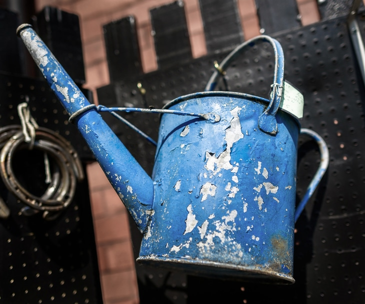 Unlike this rusty watering can, traveling sprinklers aren't prone to corrosion