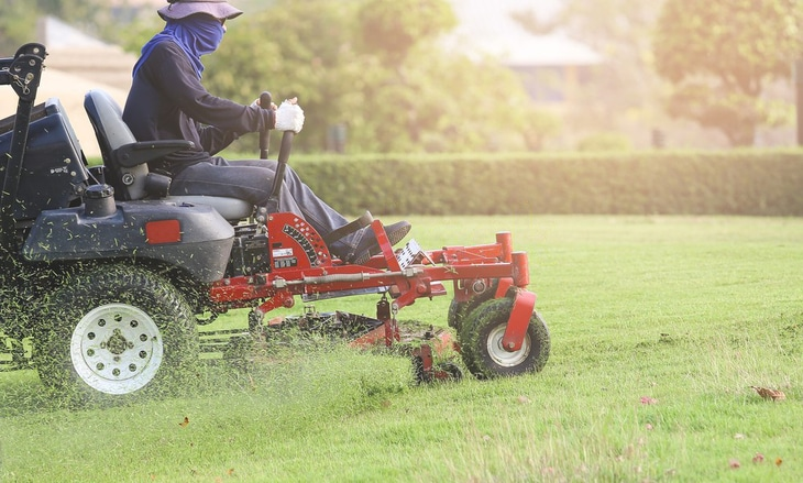 Use masks or protective gears when using a lawn mower