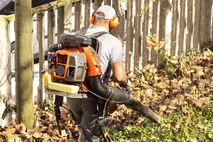 A backpack blower is more convenient to use than handheld version