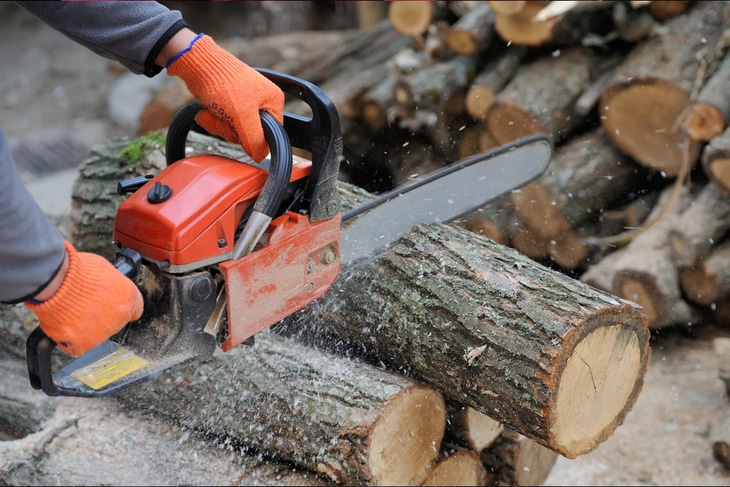 A chainsaw is a perfect tool for cutting logs and firewood