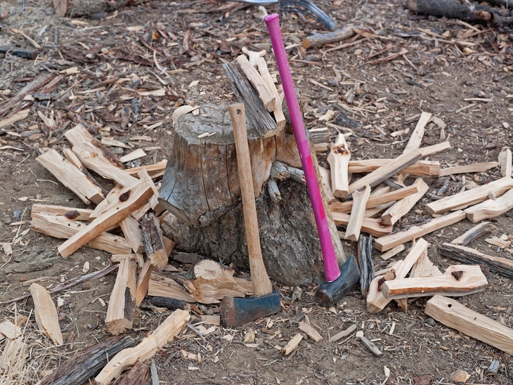 An axe and a maul can perfectly chop and split woods into small pieces