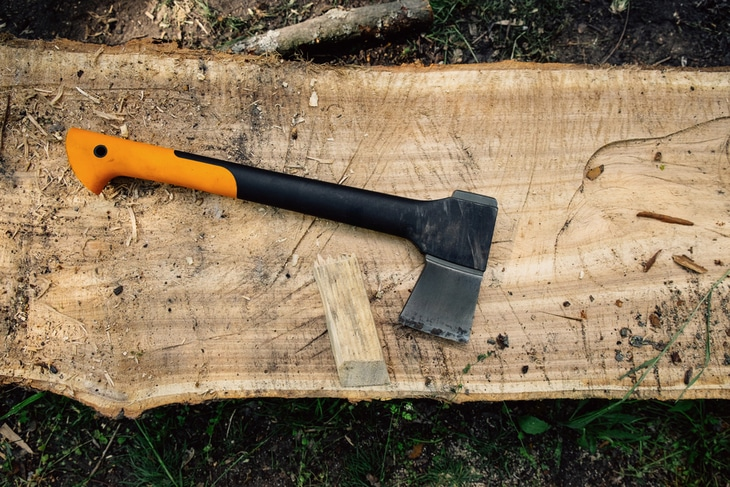 Axes with composite handle are preferred by most buyers as there is less chance of breaking the handle while chopping the woods
