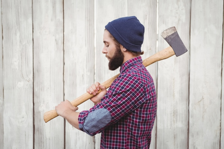 Axes with long handle have more chopping power