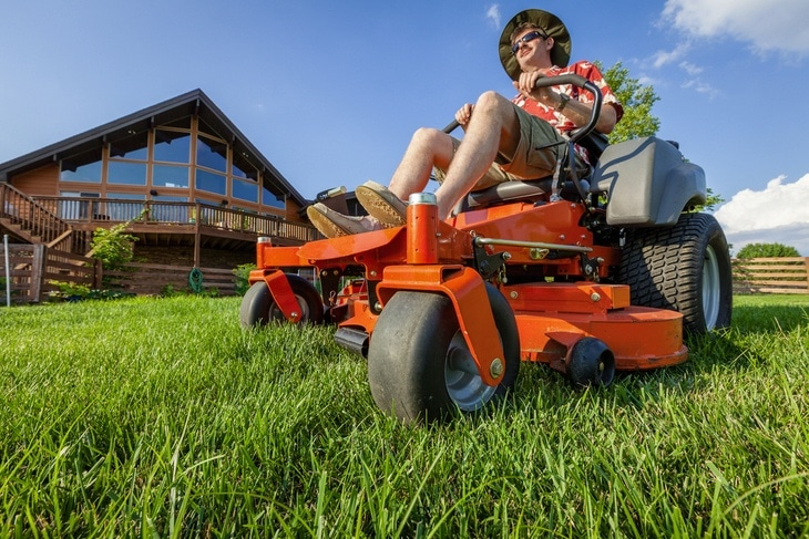 Mowing hills requires extreme control to tread and steer it