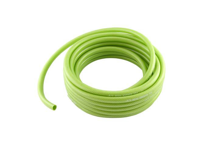 Some gardeners prefer to use PVC garden hose since it has a rubber-like flexibility