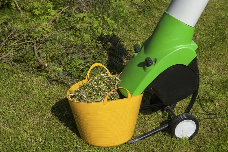 An electric leaf shredder is lightweight