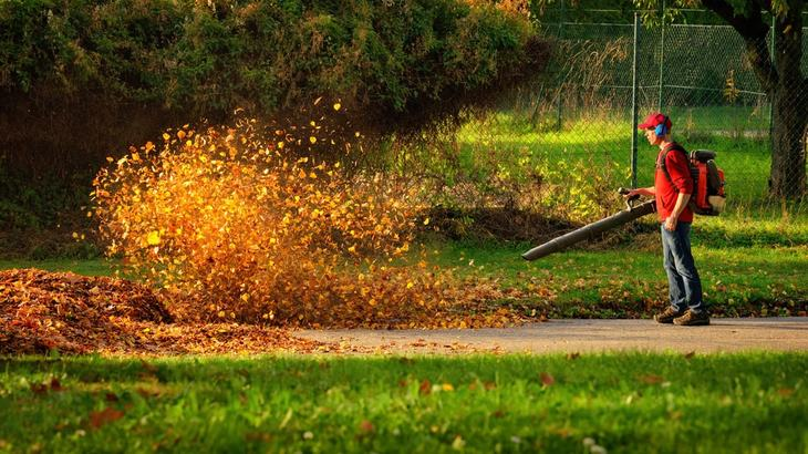 Powerful leaf blowers can sweep leaves quickly