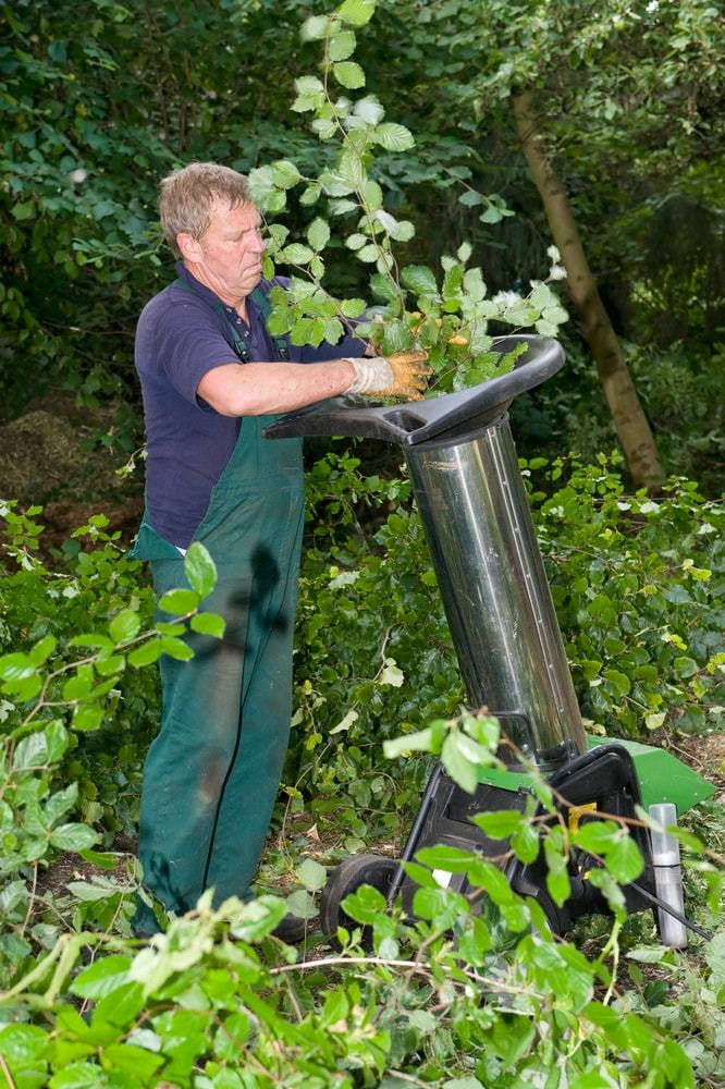Use the wood chipper if you want to shred leaves with twigs and branches