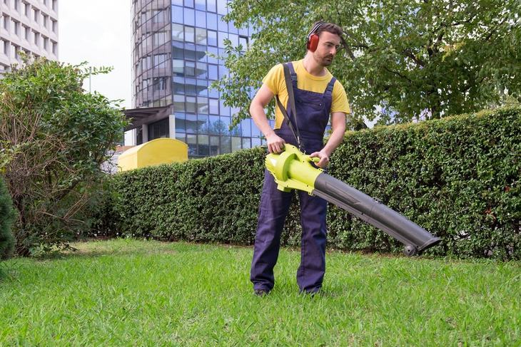 Use safety headphones while using a leaf blower