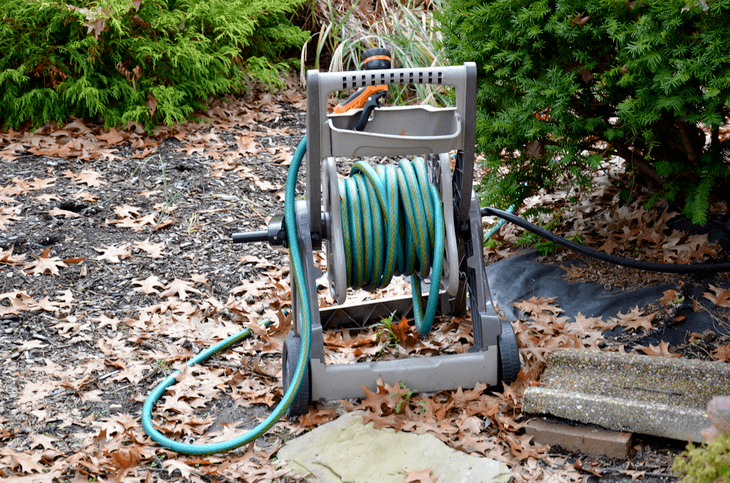 A portable hose reel is a good option if your garden is a few meters away from your house