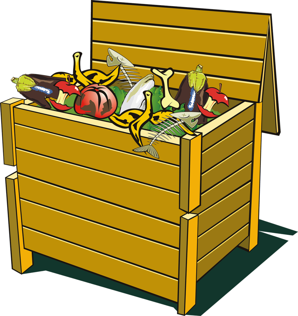 a Compost bin with rotten products to be used as compost for your vegetable gardening