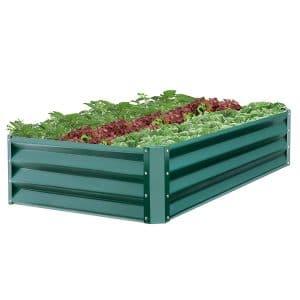 Raised garden beds full of vegetables